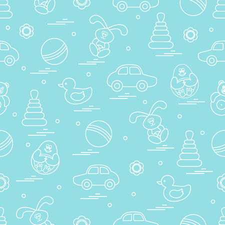 Vector pattern of different toys: car, pyramid, roly-poly, ball, hare, rattle, duck, penguin. Design element for postcard, banner, flyer, poster or print.