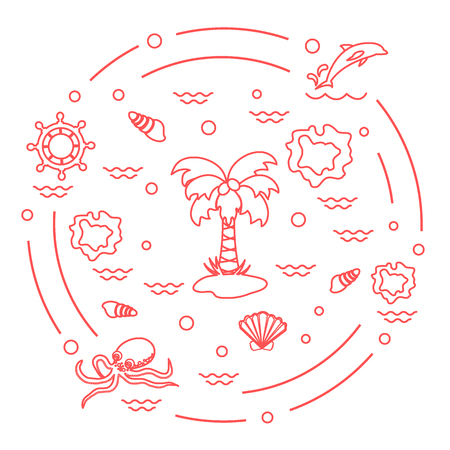 Cute vector illustration with different objects related to tourism and outdoor recreation arranged in a circle. Design for banner, poster or print. Illustration