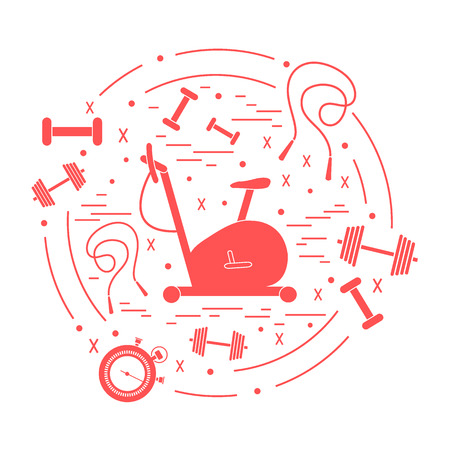 Vector illustration of different kinds of sports equipment arranged in a circle. Including icons of skipping rope, stopwatch, exercise bike, dumbbells. Isolated elements on white background. Ilustrace