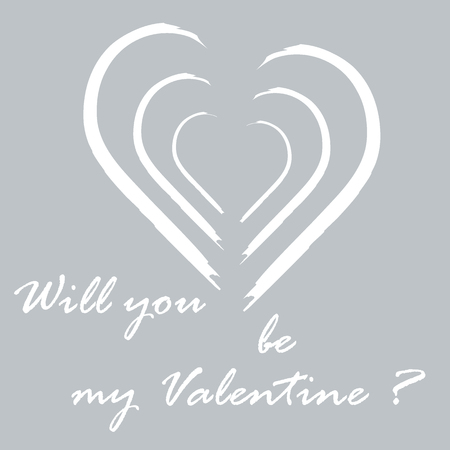 Cute vector illustration with heart and inscription. Design for banner, poster or print. Greeting card Valentines Day.