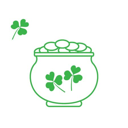 st  patrick's day: Cute vector illustration with pot with gold coins for St. Patricks Day. Design for banner, poster or print.