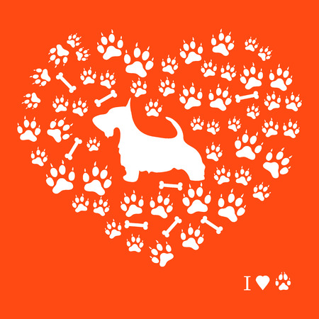 Nice picture of scotch terrier silhouette on a background of dog tracks and bones in the form of heart on a colored background. Vectores