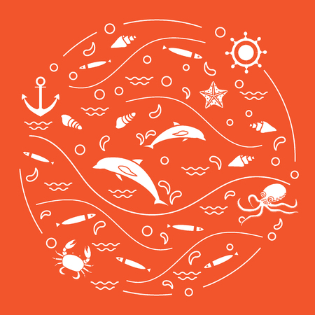 dolphin silhouette: Cute vector illustration with dolphins, octopus, fish, anchor, helm, waves, seashells, starfish, crab arranged in a circle. Design for banner, poster or print. Illustration