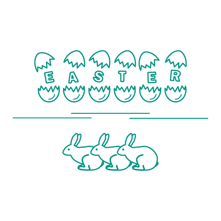 the inscription: Cute vector illustration with symbols for Easter. Design for banner, poster or print.
