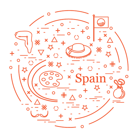 barcelona: Vector illustration with various symbols of Spain arranged in a circle. Travel and leisure. Design for banner, poster or print. Illustration
