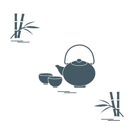 Stilisierte Ikone der Teekanne mit zwei Tassen und Bambus. Tee-Zeremonie. Design für Banner, Poster oder Print. Vektorgrafik