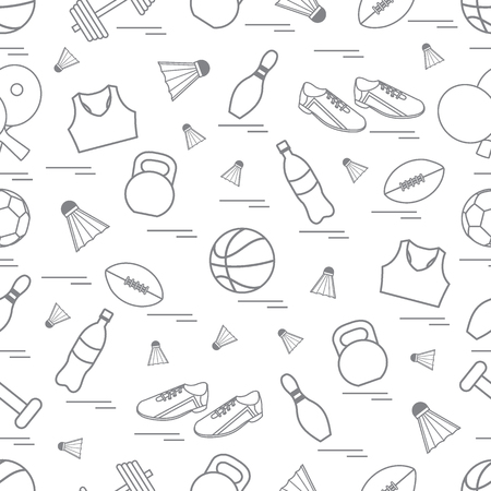 gym equipment: Seamless pattern on the sports theme. Vector illustration sports and fitness equipment. Series of Sporting Patterns. Illustration
