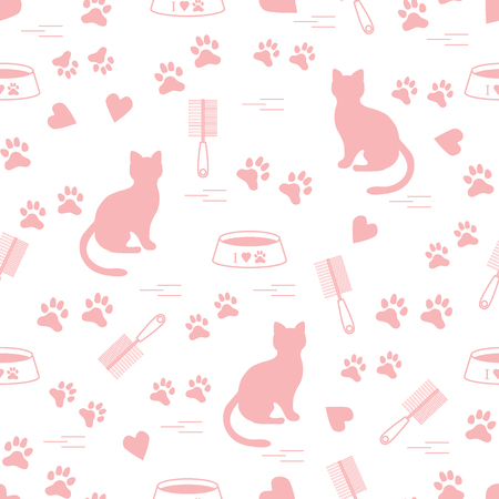 Nice pattern of silhouette sitting cat, traces, hearts, bowl and comb need for cat hair. Design for banner, flyer, poster or print. Illustration