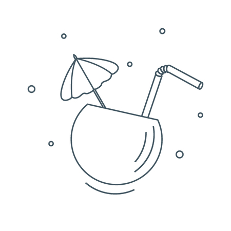 beach party: Stylized icon of the cocktail in half coconut, tube and umbrella. Travel and leisure. Design for banner, poster or print.