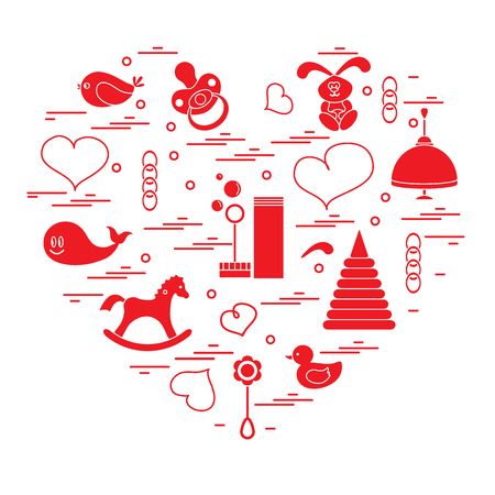 rubber ducks: Vector illustration kids elements arranged in a heart: bird, whale, pacifier, bubbles, pyramid, beanbag, rabbit, duck and other. Design element for postcard, banner, flyer, poster or print.