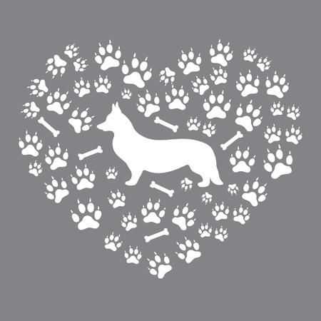 pembroke welsh corgi: Nice picture of Welsh Corgi Pembroke silhouette on dog tracks and bones in the form of heart