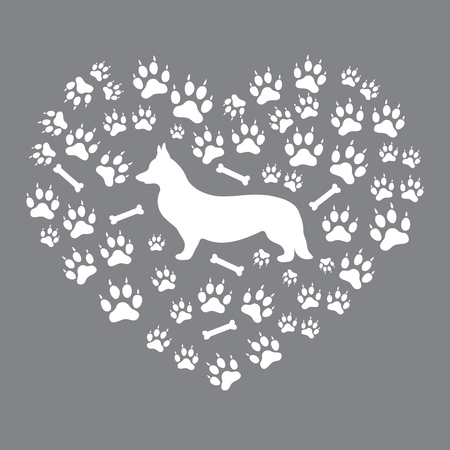 Nice picture of Welsh Corgi Pembroke silhouette on dog tracks and bones in the form of heart