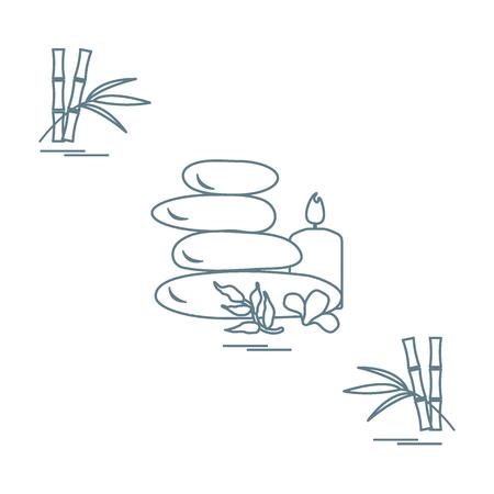 Icono estilizado de piedras de masaje para procedimientos de spa, hojas, flores, velas y bambú. Spa y belleza. Diseñe para la bandera, el cartel o la impresión. Foto de archivo - 78182268