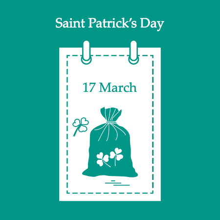 patrick: Cute vector illustration: calendar with a bag full of gold coins and clover for St. Patricks Day. Design for banner, poster or print.