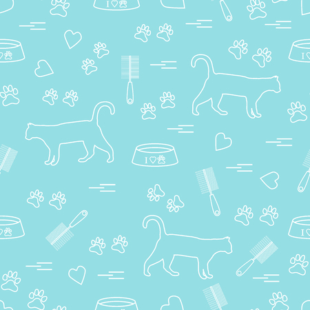 Nice pattern of silhouette walking cat, traces, hearts, bowl and comb need for cat hair. Design for banner, poster or print. Illustration