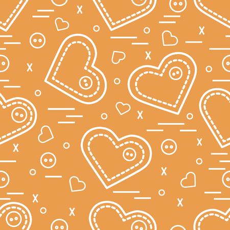 workmanship: Cute seamless pattern with needle cases and buttons. Greeting card Valentine�s Day. Design for banner, flyer, poster or print. Illustration