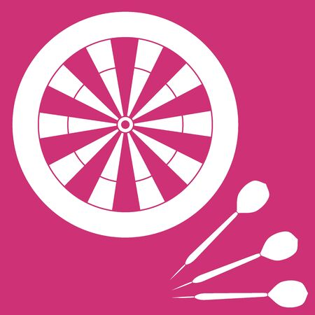 cast: Cute vector illustration of target and arrows for the darts. Sports theme. Design for banner, poster or print.
