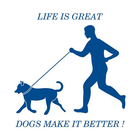 dog: Silhouette of man jogging with dog on leash. Design element for postcard, banner, flyer.