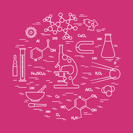 Stylized vector icon of variety scientific, education elements: microscope, flask, formula, pestle and other. Design for banner, poster or print.