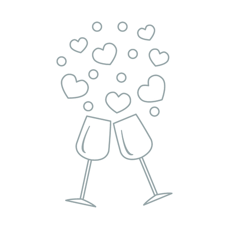 happy couple: Cute vector illustration of two stemware with hearts. Design for banner, flyer, poster or print. Greeting card Valentines Day.
