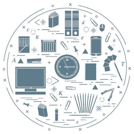 engrapadora: Conjunto de diversos objetos de oficina dispuestos en un círculo. Incluyendo iconos de clips, botones, lápices, pegamento, el monitor, el reloj y la otra en el fondo blanco.