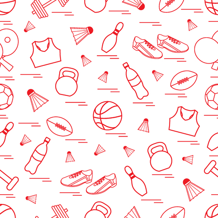 Seamless pattern on the sports theme. Vector illustration sports and fitness equipment. Series of Sporting Patterns. Ilustração