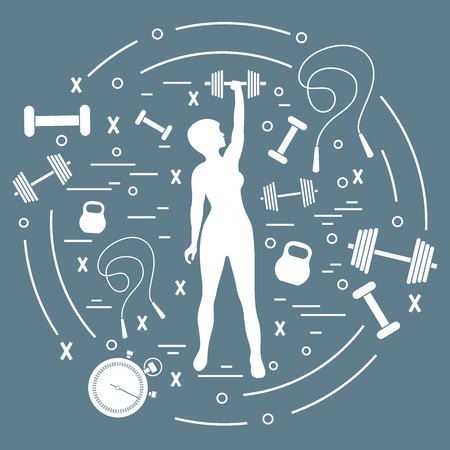 Cute vector illustration of fitness athletic woman holds kettlebell, dumbbell, stopwatch, skipping rope. Training female body. Design for banner, poster or print. Vectores