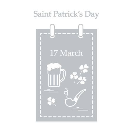 celtic: Cute vector illustration: calendar with a beer, clover, tobacco pipe for St. Patricks Day. Design for banner, poster or print.