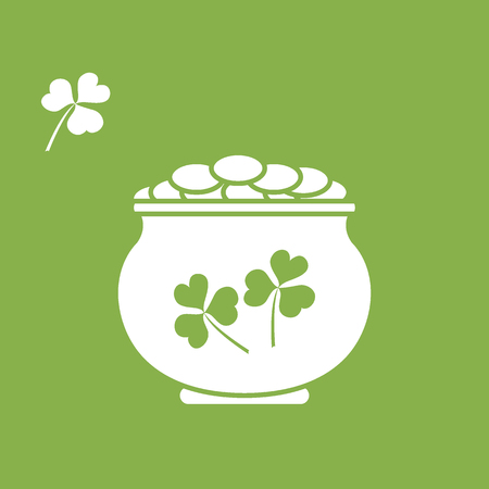 patrick: Cute vector illustration with pot with gold coins for St. Patricks Day. Design for banner, poster or print.