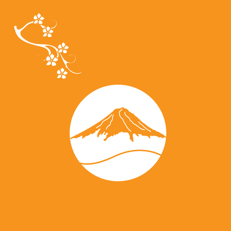 Cute illustration of branch of cherry blossoms and mount Fuji. Set of Japan traditional design elements.