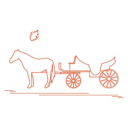 Ilustración del vector con el carro tirado por caballos y la hoja del roble. Viajes y ocio. Diseño para la bandera, el cartel o la impresión. Ilustración de vector