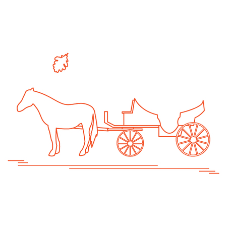chariot: Vector illustration with horse-drawn carriage and oak leaf. Travel and leisure. Design for banner, poster or print. Illustration
