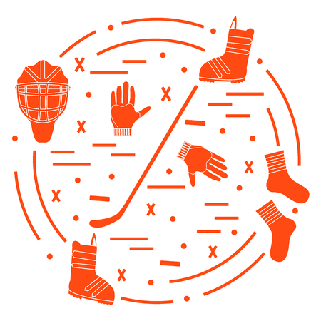 puck: Vector illustration of various subjects for hockey and snowboarding arranged in a circle. Including icons of helmet, gloves, stick, puck, socks, snowboard boots.