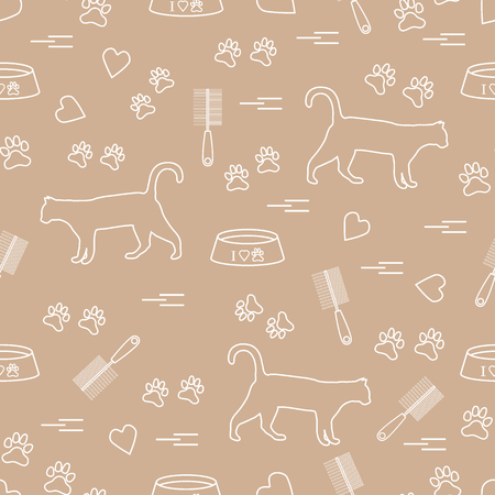 silueta de gato: Nice pattern of silhouette walking cat, traces, hearts, bowl and comb need for cat hair. Design for banner, flyer, poster or print.