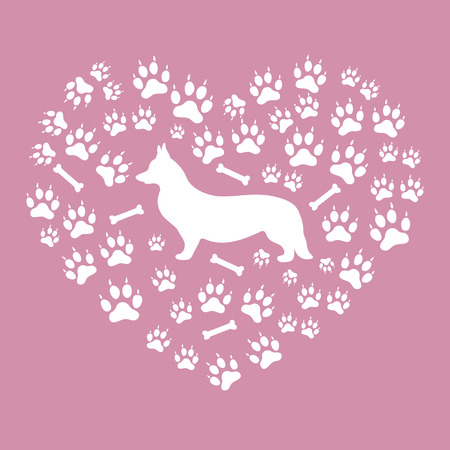 pembroke welsh corgi: Nice picture of Welsh Corgi Pembroke silhouette on a background of dog tracks and bones in the form of heart on a colored background.