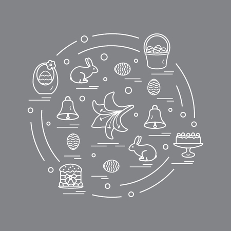 fruitcakes: Cute vector illustration with different symbols for Easter arranged in a circle. Including icons of simnel cake, lily, baskets, eggs and other. Design for banner, poster or print.