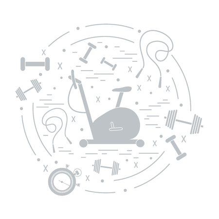 weight machine: Vector illustration of different kinds of sports equipment arranged in a circle. Including icons of skipping rope, stopwatch, exercise bike, dumbbells. Isolated elements on white background. Illustration