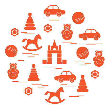 Vector illustration kids elements arranged in a circle: car, pyramid, roly-poly, ball, cubes, rocking horse, rattle. Design element for postcard, banner, flyer, poster or print. Illustration