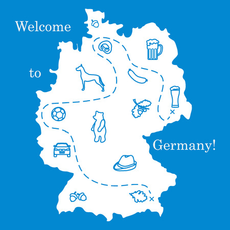 Vector illustration with various symbols of Germany. Travel and leisure. Design for banner, poster or print. Ilustração