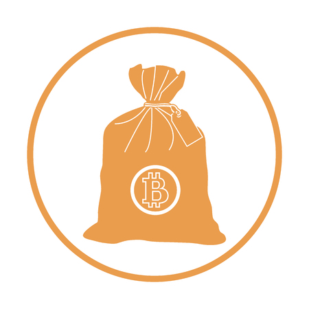 Stylized icon of a knotted bag with money. Design for banner, poster or print.