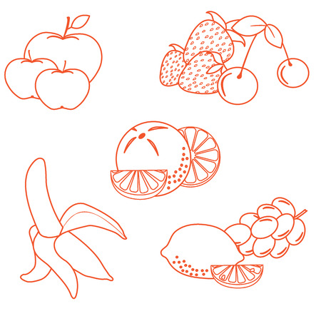 Cute vector illustration of organic fruits and berries.  Healthy eating vector concept. Design for banner, poster or print.