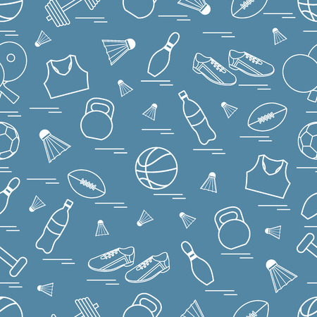 sports equipment: Seamless pattern on the sports theme. Vector illustration sports and fitness equipment. Series of Sporting Patterns. Illustration