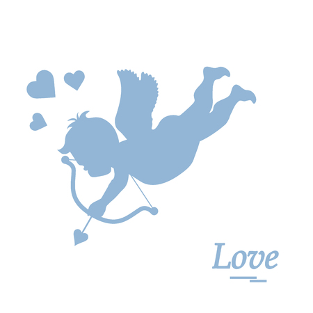 Cute vector illustration: cupid shoots a bow. Love symbol. Design for banner, poster or print.