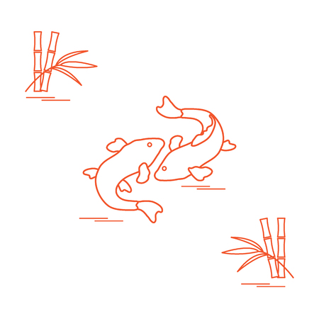underwater fishes: Stylized icon of two carp koi  and bamboo. Travel and leisure. Design for banner, poster or print.