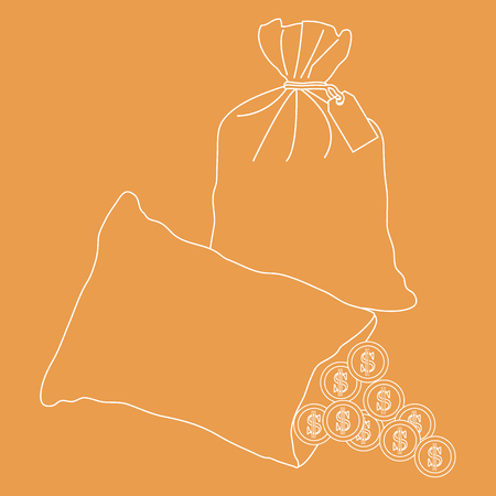 Stylized icon of a knotted bag with money and open bag with pours coins. Design for banner, poster or print.