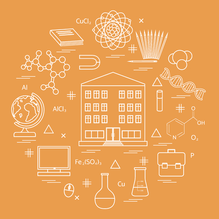 Vector illustration of variety scientific, education elements in a circle. Including icons of school, globe, pencil, magnet, flask, molecule and other.
