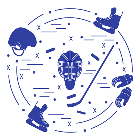 Vector illustration of various subjects for hockey arranged in a circle. Including icons of helmet, gloves, skates, goalkeeper mask, stick, puck. Illustration