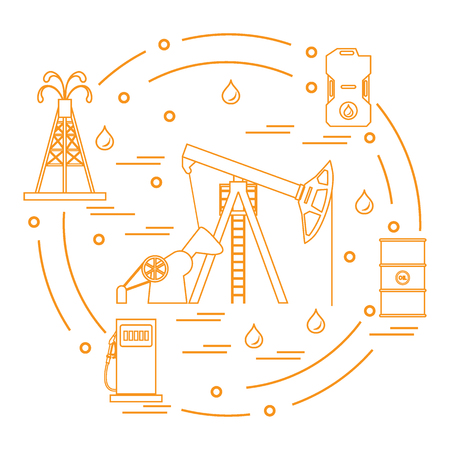 flammable: Cute vector illustration of the equipment for oil production, canister of gasoline, barrels with oil, gas station arranged in a circle. Design for poster or print.