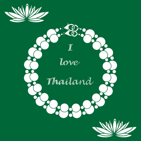 Stylized icon of pearl necklace and lilies. Design for banner, poster or print.