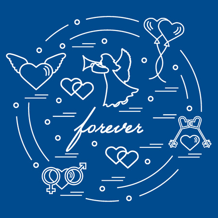 Cute Vector Illustration With Different Love Symbols Hearts
